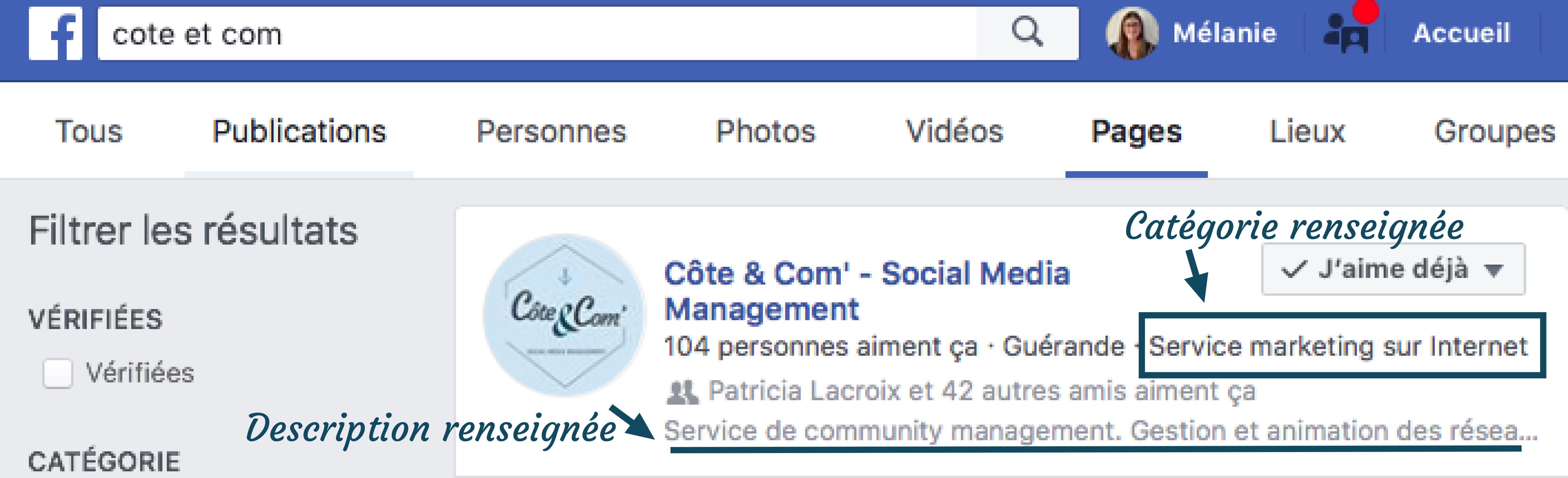 Barre de rechercher Facebook, communication et Community management guérande réseaux sociaux